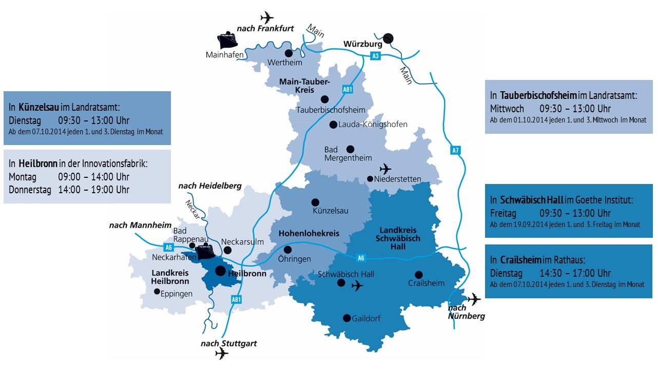 Region Heilbronn Franken Karte.Welcome Center Unterstützungsangebot